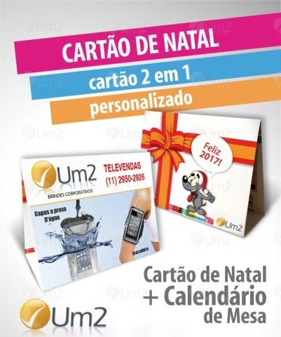 Calendário personalizado com cartão de natal