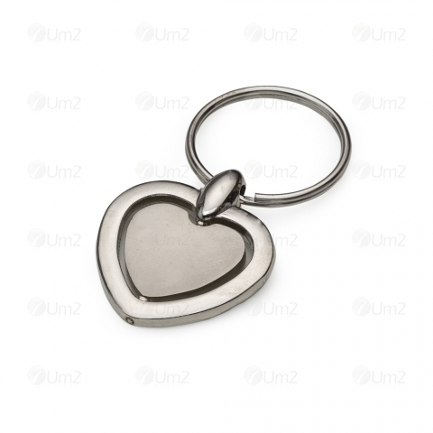 Chaveiro Metal Coração Giratório