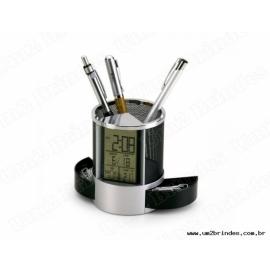 Porta Caneta com Relógio Digital e Porta Clips